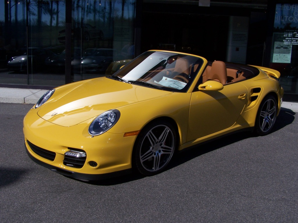 2008 porsche turbo cab in speed yellow with natural brown. Black Bedroom Furniture Sets. Home Design Ideas