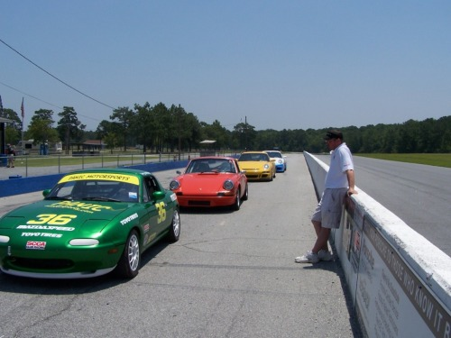 Doug Stemple waiting to send the instructors out on the track