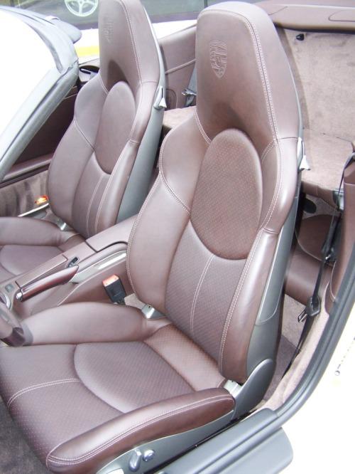 Cream White Porsche Turbo Cab with Cocoa Interior